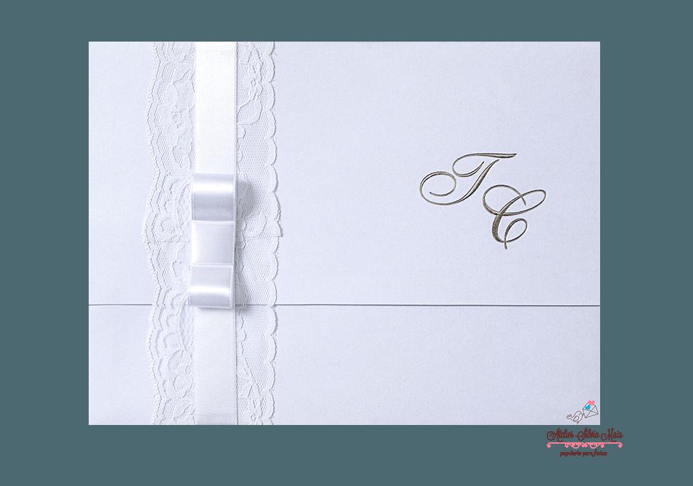 Convite com acabamento em renda - Ref. CS.0127
