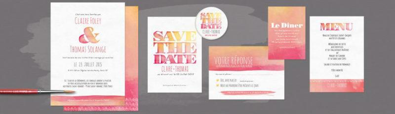 Faire part de mariage aquarelle. Invitation de mariage personnalisée avec vos couleurs à la carte.