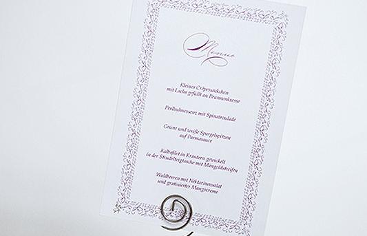 Beispiel: Hochzeitsmenü, Foto: Ephemeres FEINE DRUCKSACHEN.