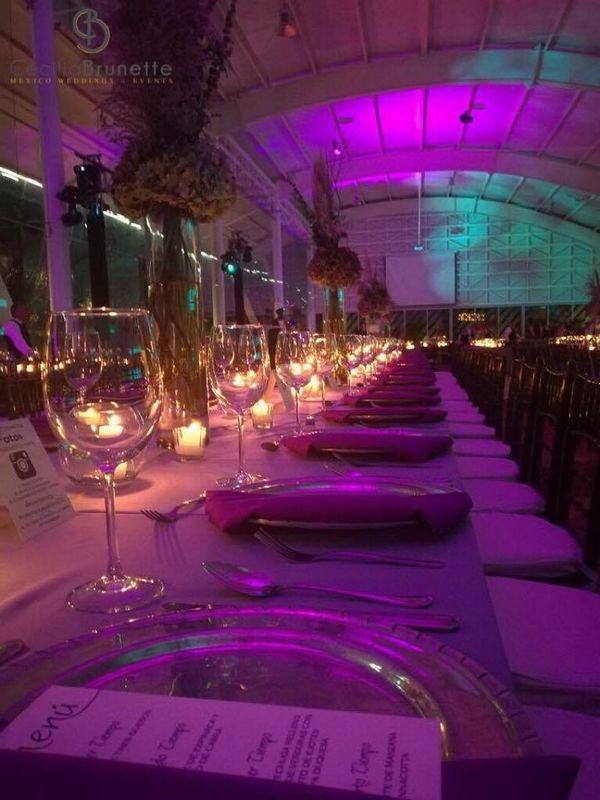 Iluminación perfecta, mesas llenas de detalles, arreglos con plumas hicieron de este evento único