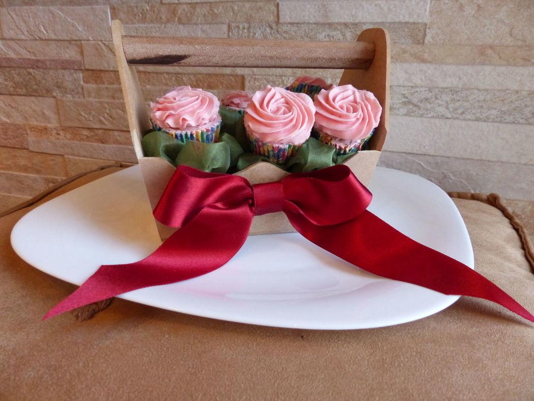 Floreira de cupcakes