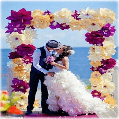 Marco gigante con flores de colores
