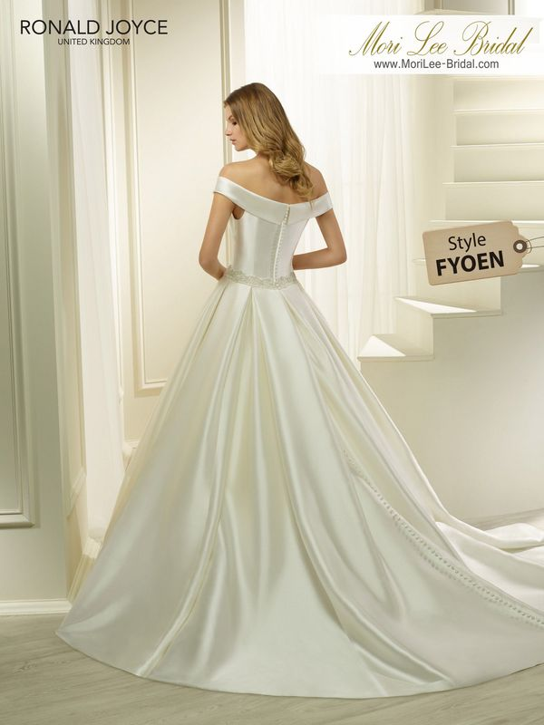 Style FYOEN HALEEMA A SPECIAL SATIN BALL GOWN WITH A RUCHED BODICE, OFF-THE-SHOULDER NECKLINE AND BEADED BELT DETAIL. PICTURED IN IVORY.  *DISCLAIMER*  BEADED BELT DIFFERS FROM THE WEB REPRESENTATION.  COLOURS IVORY