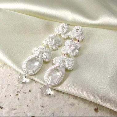 Małgorzata Sowa - PiLLow Design, Biżuteria ślubna sutasz. Kolczyki - kryształy Swarovski, kryształ górski, srebro