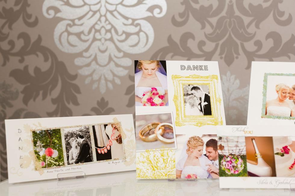 Beispiel: Persönliche Hochzeitskarten mit Fotos, Foto: Dankeskarte.com.