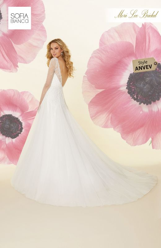 Style ANVEV Suzette  Crystal beaded tulle gown with satin waistband and godet skirt