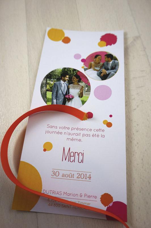 Carte de remerciements Thème rose et orange Mademoiselle Créa