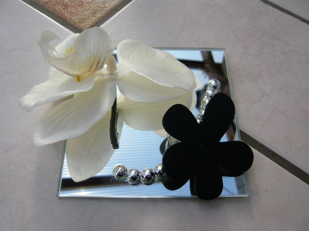 Centre de table miroir et orchidée