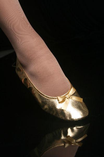 Sapatilha Série Soft Dourado Brilhante com Lacinho de Cetim