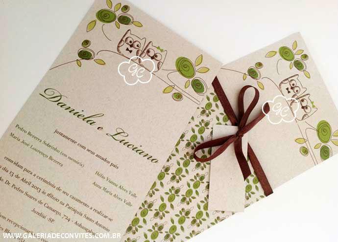 menu e convite de casamento modelo 76 com corujinhas