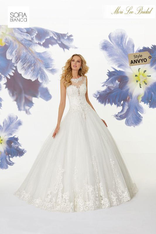 Style ANVYO Shoshanna  Diamanté beaded alençon lace appliqués on a tulle ball gown over sparkle tulle with wide hemlace