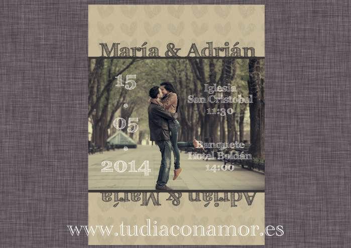 Tarjeta postal de boda con fotografía