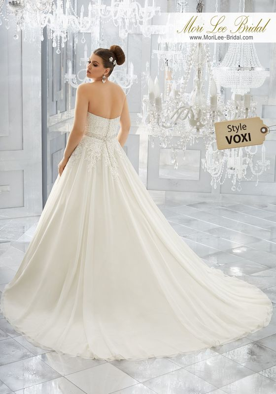 Style VOXI Mabel Wedding Dress  Classic and Elegant, This Silky Chiffon Wedding Gown Features a Crystal Beaded, Embroidered Bodice with Full, Flowing Skirt. A Removable Beaded Organza Belt, Also Sold Separately as Style NXOFL/NXOFLW, Completes the Look. Colors Available: White, Ivory, Ivory/Light Gold.