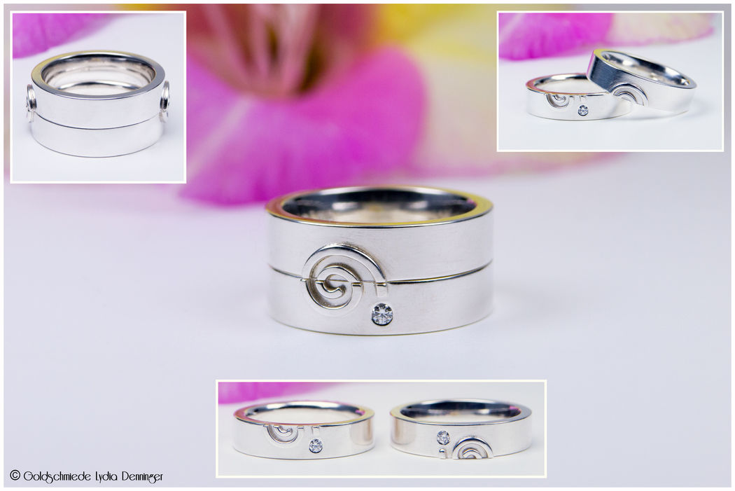Trauringe in 925/- Silber mit je zwei Spiralen und einem Brillant in beiden Ringen