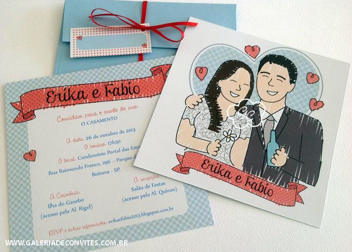 convite de casamento modelo EF