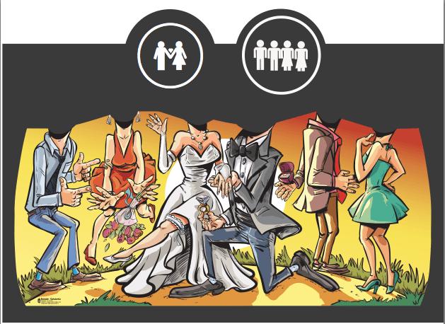 Personajes Principales (1 escena): - Los novios -2 amigas de la novia -2 amigos del novio