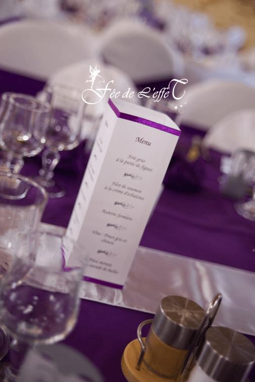 Fée de l'effet - Menu photophore carré violet