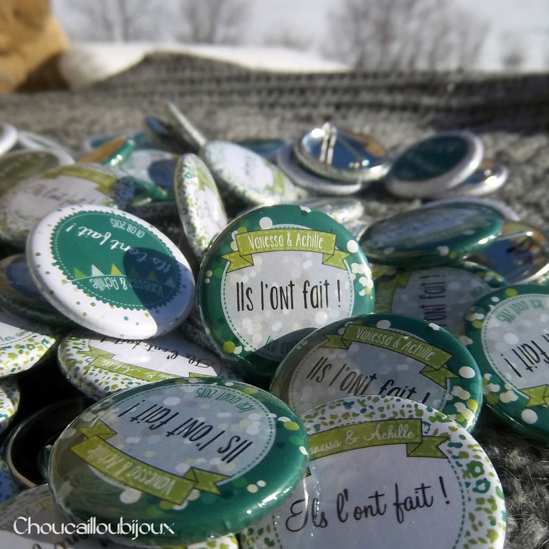 Choucailloubijoux - Badges Personnalisés {Valérie & Achille} Camaïeu de verts