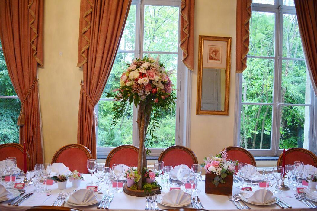 Centre de table haut mariage romantique champêtre