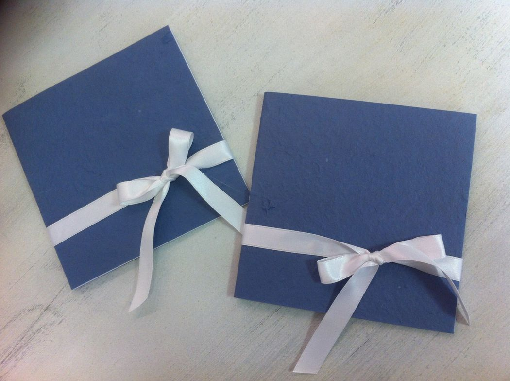 Libretto messa in carta di gelso blu avio per matrimonio