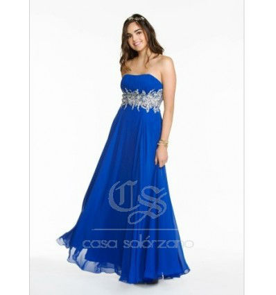 Vestido largo azul con pedrería
