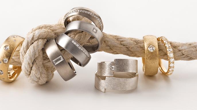Beispiel: Trauringe mit Diamanten, Foto: Thomas Becker Atelier für Schmuck.