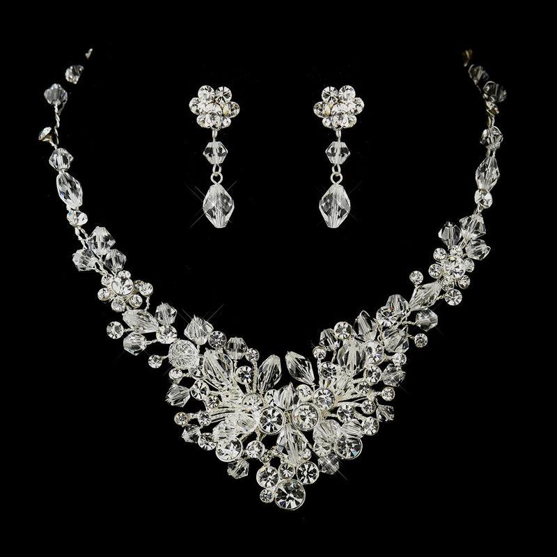 Parure de mariage Helen Collier et boucles d'oreilles en perles de cristal de swarovski
