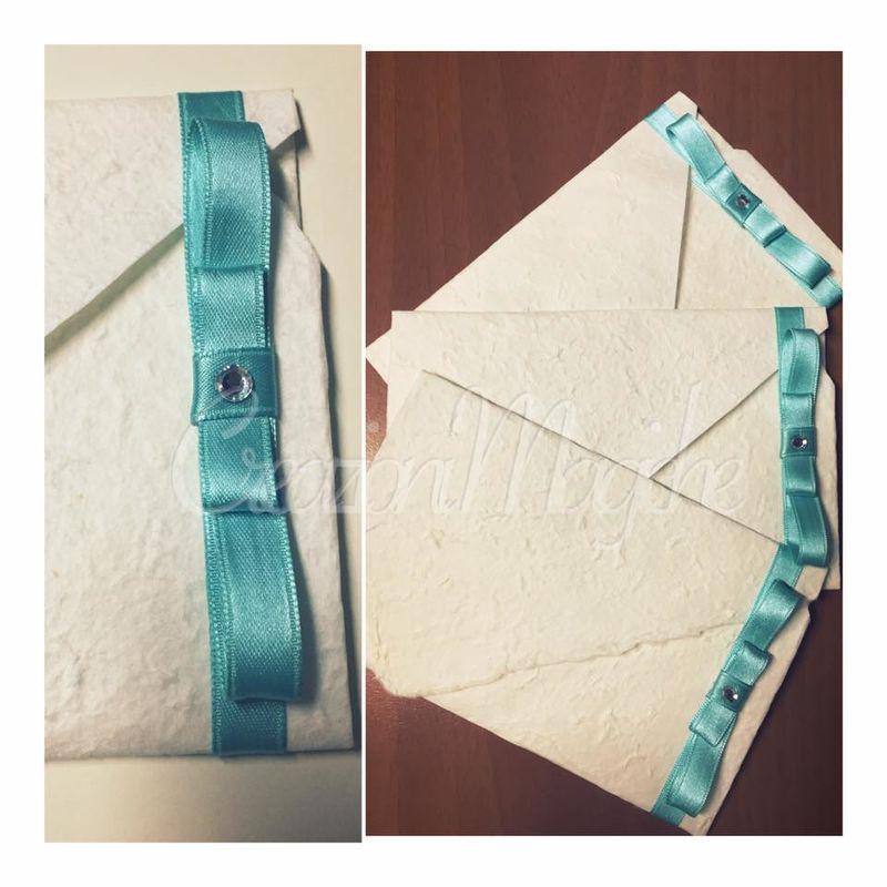 partecipazione origami con fiocco tiffany
