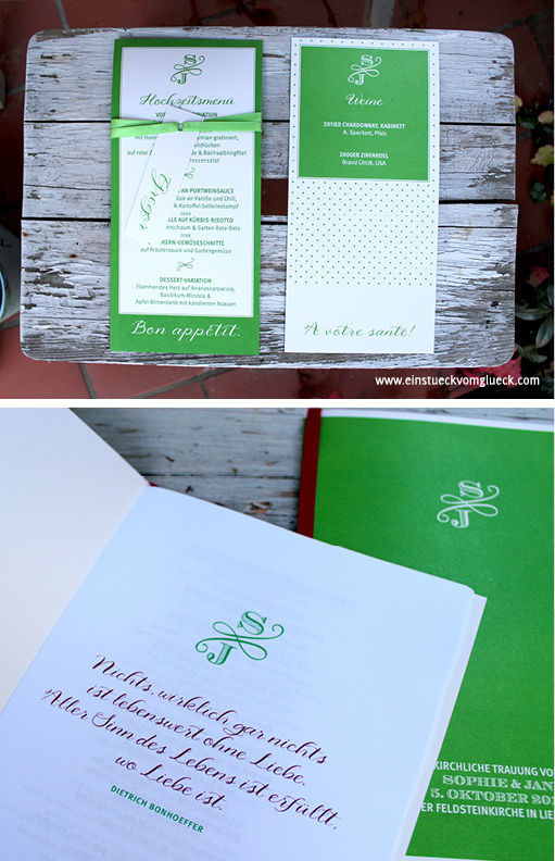 Beispiel: Von Einladungen bis Menükarten, Foto: Ein Stück vom Glück.