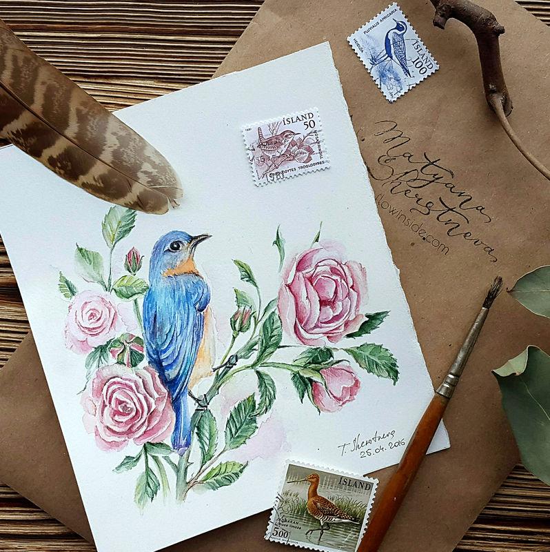 Акварельная иллюстрация для свадебной полиграфии. Июньская свадьба  в пастельных тонах с оформлением кустовыми розами и птицами. Планируется атмосфера замка в цветущем саду.