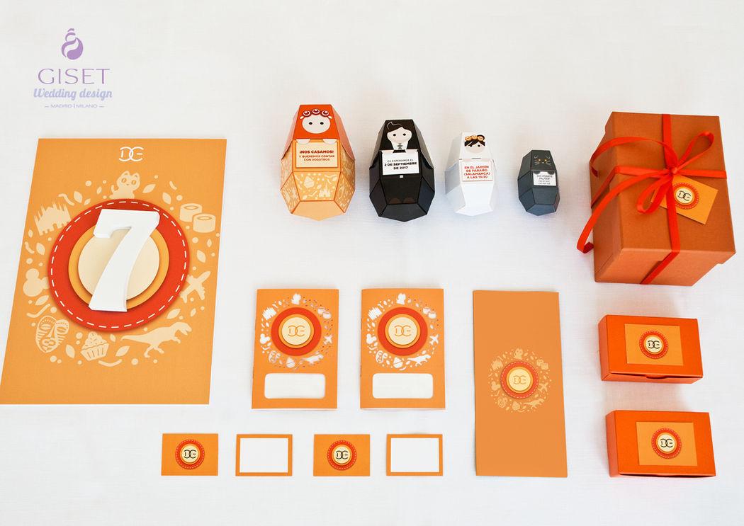 Branding completo: invitación, mesero, libretas, tarjetas, cajas y menús