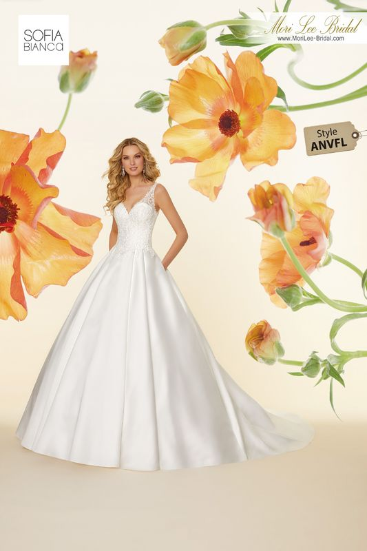 Style ANVFL Sonata  Frosted, embroidered appliqués on a larissa satin ball gown