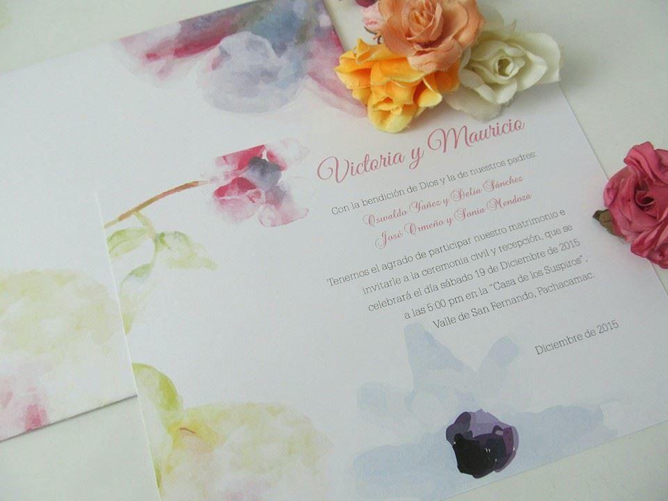 Cod.PAF301-15 Diseñado por MALI Partes de Matrimonio, un parte romántico lleno de alegría y vitalidad.