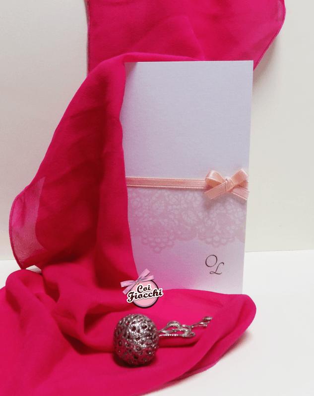 Coi Fiocchi wedding design - partecipazione elegante bianco&rosa pesco