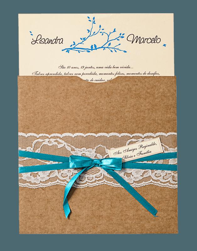 Convite Luva com bico de renda - Ref. CS.0141