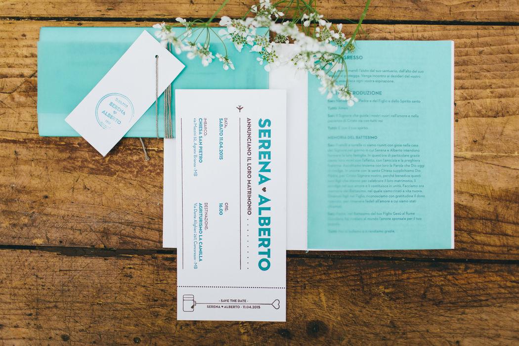 Serena & Alberto | Wedding Stationery Carta 100% cotone Gmund Cotton Linen Cream 600g/m Carta Translucent verde acqua Stampa Letterpress due colori