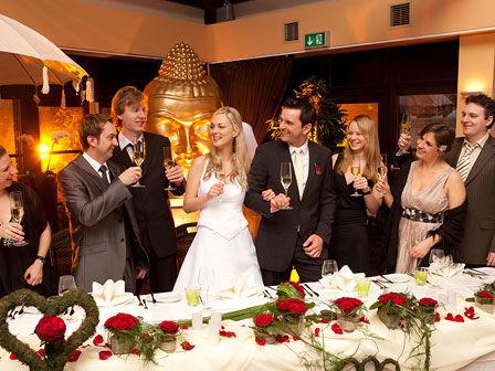 Beispiel: Ryokan Hochzeitsgesellschaft, Foto: Pangun Tropengarten und Ryokan Seeterrassen.