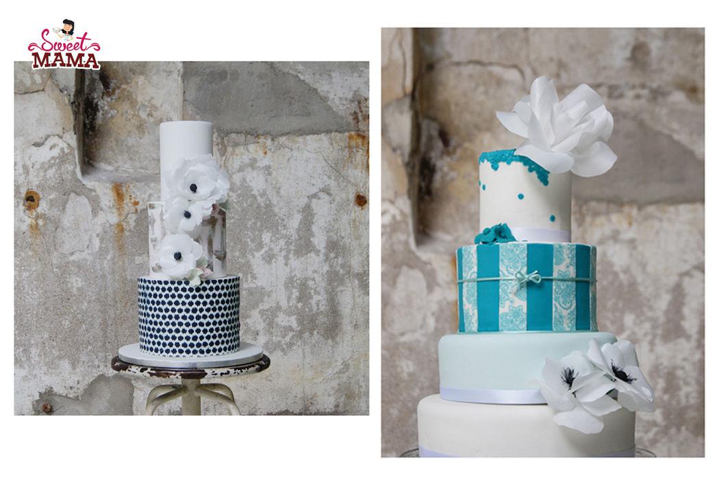 Tartas de boda con papel comestible.