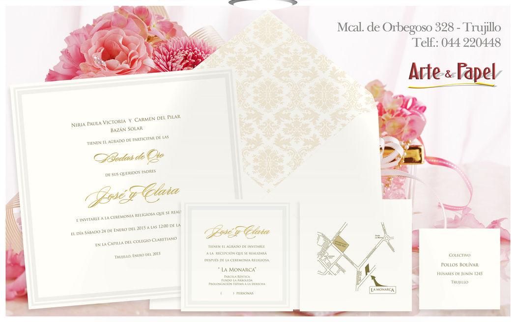 Invitaciones con detalles en oro