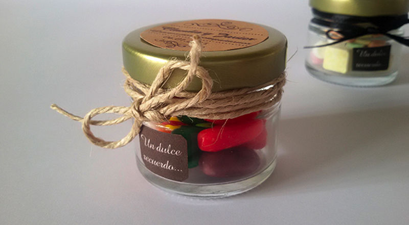 frasco dulces para recuerdo