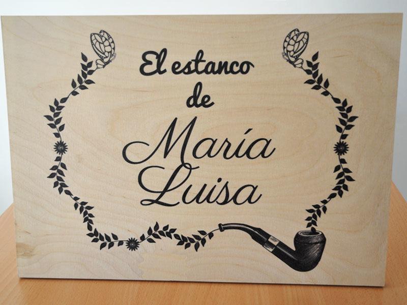 Cartel madera para mesa de tabaco