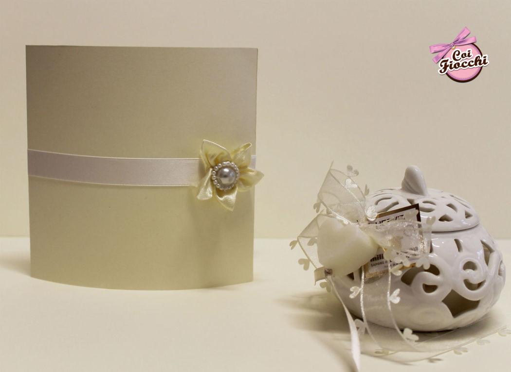 Coi Fiocchi wedding design - partecipazione di nozze in raso e avorio