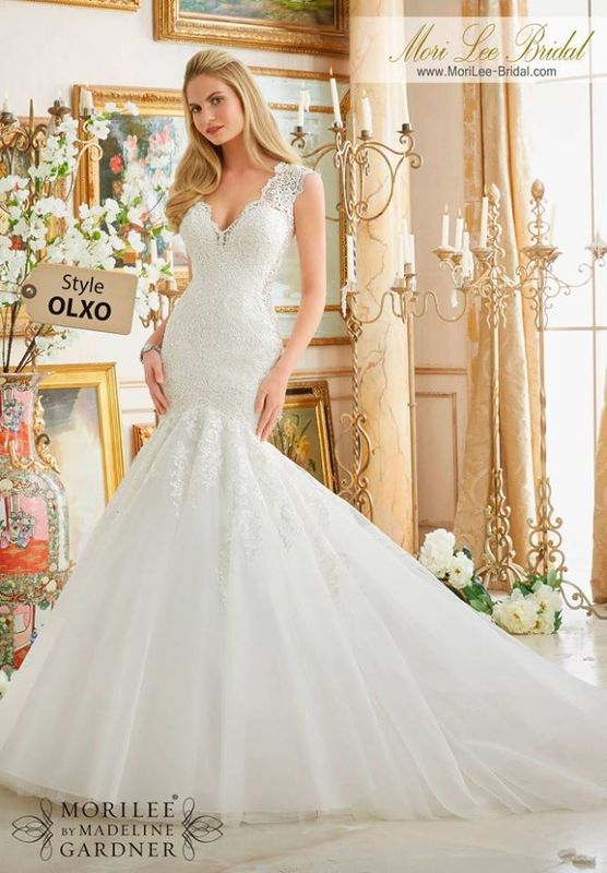 Wedding Dress OLXO  Frosted Beading on Embroidered Lace Appliques Onto Tulle  Colors Available: White, Ivory