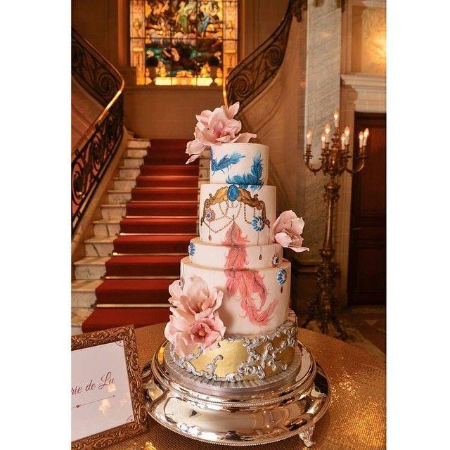 Confiserie de Lu - Bolo de casamento -Vintage Glam - pintado à mão e flores em açúcar