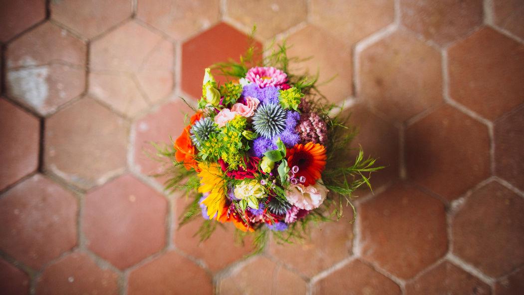 Au Jardin d'Egly - Bouquet rond champêtre multicolore