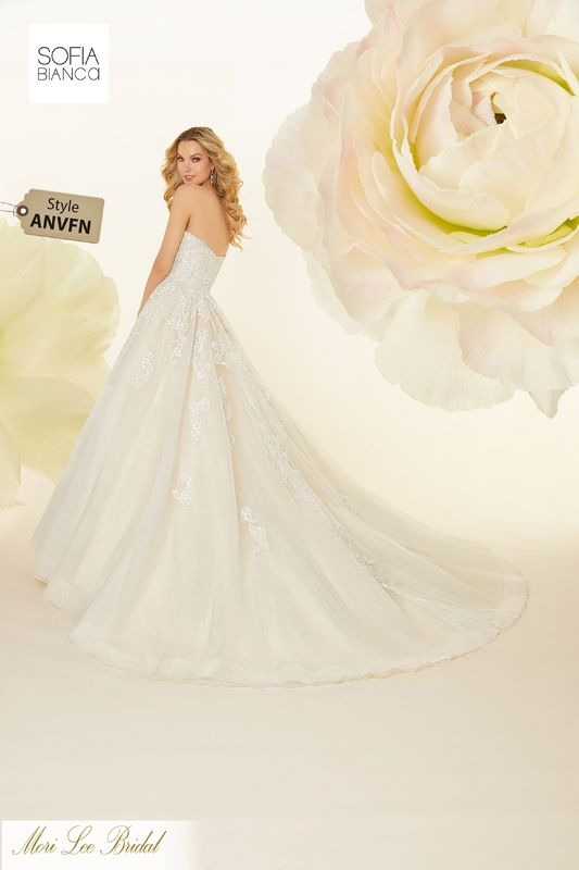 Style ANVFN  Sapphira   Diamanté and crystal beaded embroidered appliqués on a tulle ball gown