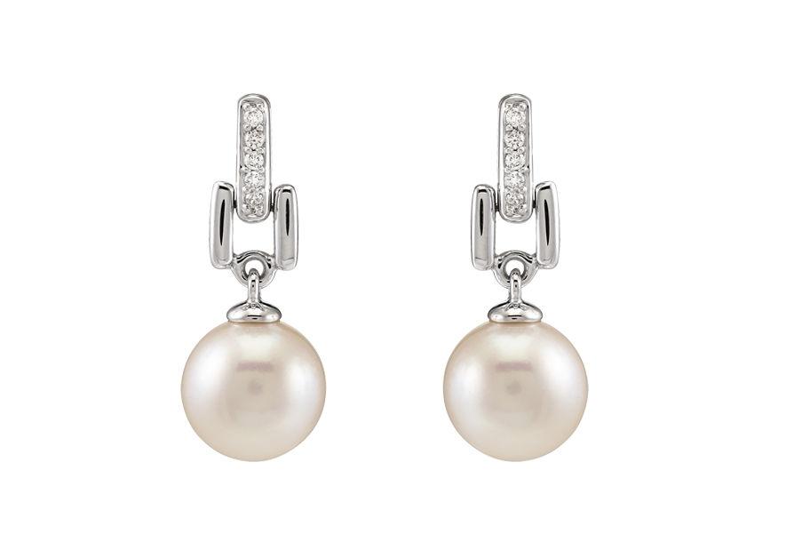 Pendants Perles Précieuses - or blanc, perles roses Akoya & diamants