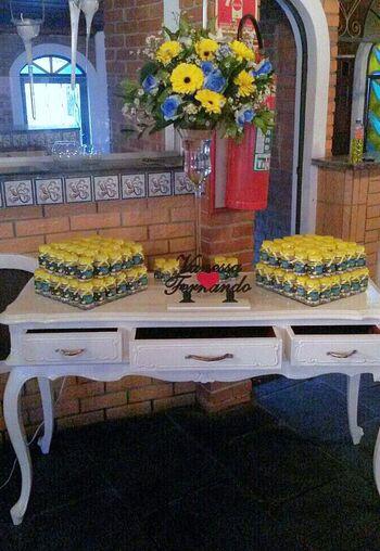 Exemplo de produto Receitinhas de Alegria - Prod. Semi Completo - Personalizado I, junto à decoração de evento (Casamento 22/06/15)