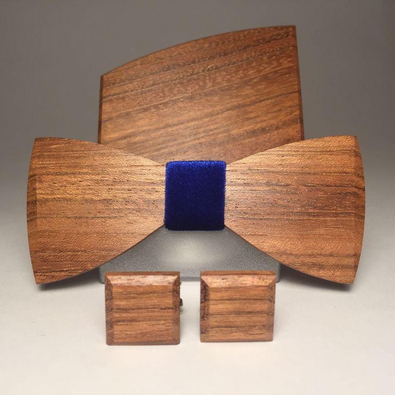 Drewniana muszka, spinki do mankietów i poszetka MARACHIC