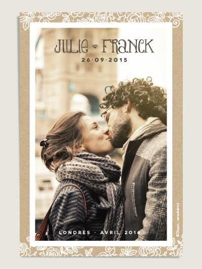 Cartes de remerciement mariage Dentelle sur fond façon kraft avec photo par Dioton.fr - existent en format 4 faces.
